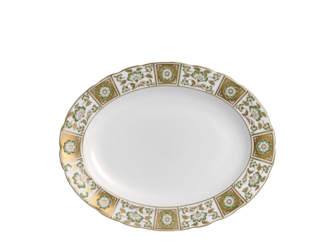 DERBY PANEL GREEN - OVAL DISH (34.5cm )