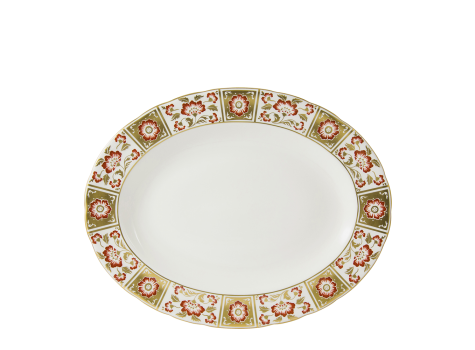 DERBY PANEL RED - OVAL DISH (34.5cm )