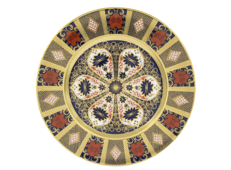 OLD IMARI SOLID GOLD BAND - PLATE 27CM