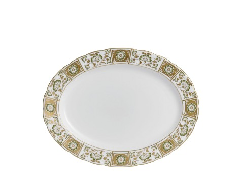 DERBY PANEL GREEN - OVAL DISH (41.75cm)