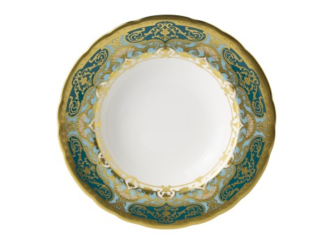 HERITAGE FOREST GREEN & TURQUOISE - RIM SOUP (21.75cm )