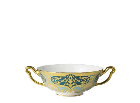 HERITAGE FOREST GREEN & TURQUOISE - CREAM SOUP CUP