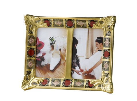 OLD IMARI SOLID GOLD BAND - DOUBLE PICTURE FRAME