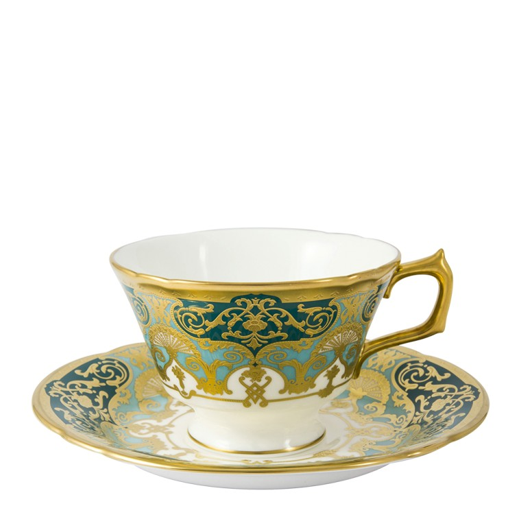 HERITAGE FOREST GREEN & TURQUOISE - TEA SAUCER