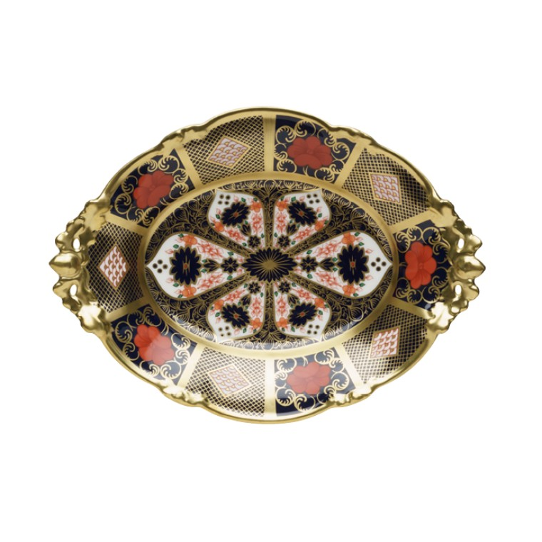 OLD IMARI SOLID GOLD BAND - TALL OVAL COMPORT