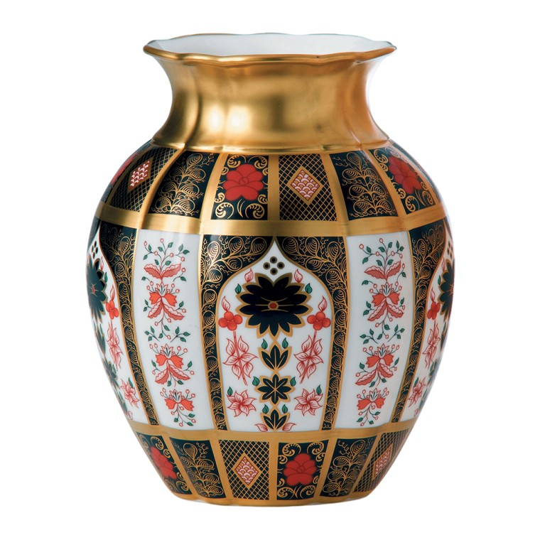 OLD IMARI SOLID GOLD BAND - TULIP VASE
