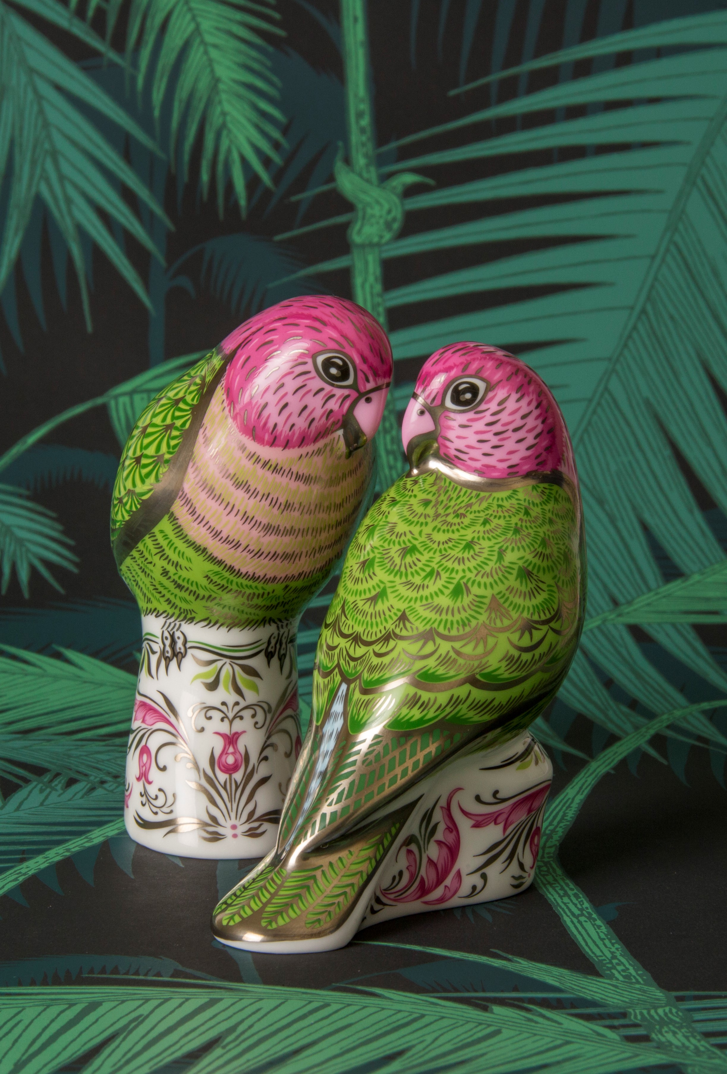 The Majestic Love Birds Pair - Royal Crown Derby