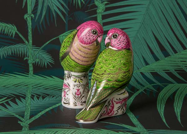 Majestic Love Birds Pair - Royal Crown Derby.