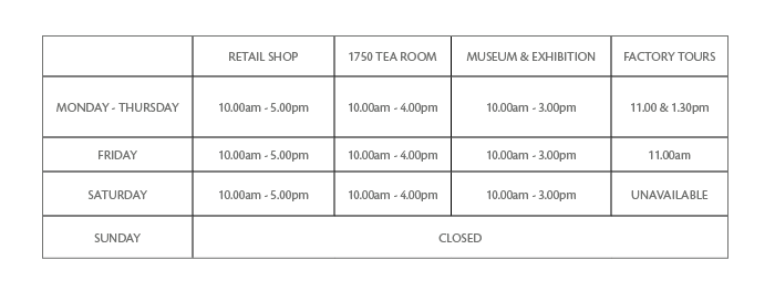 Opening times - Royal Crown Derby