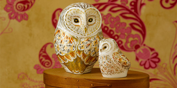 Winter Owl and Owlet - Royal Crown Derby