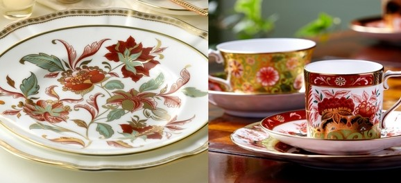 Seasonal Accent plate and Imari Accent Coffee Can and stand - Royal Crown Derby