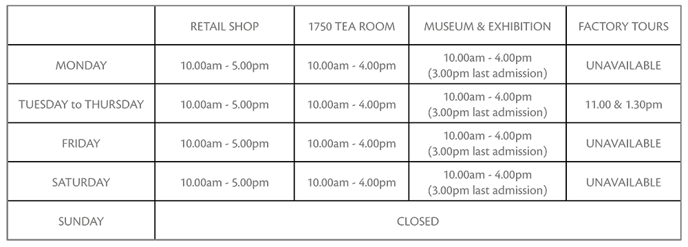 Visitor Centre Opening times