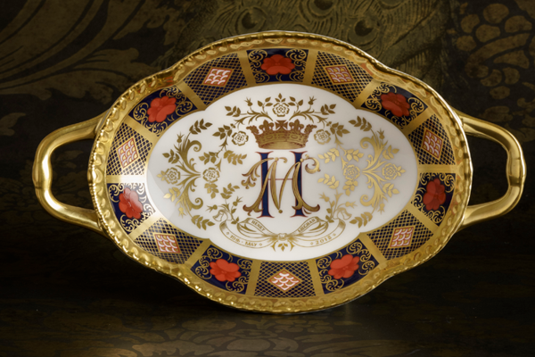 Old Imari Solid Gold Band Melbourne Tray - Royal Crown Derby